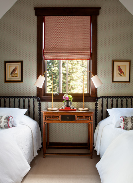xl twin bed frame bedroom transitional with red roman shade two twin beds wallpaper white bedding