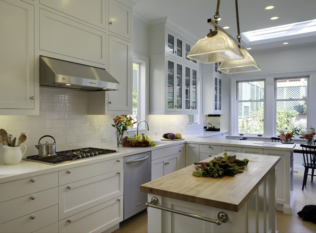 Zephyr Hood Kitchen Traditional with Butcher Block Contemporary Kitchen Dining Area Glass Front Cabinets