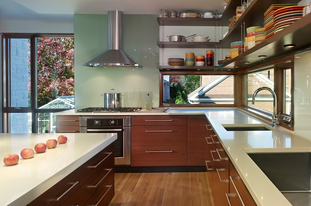 Zephyr Hoods Kitchen Contemporary with Cooktop Dark Brown Cabinets Deep Sink High