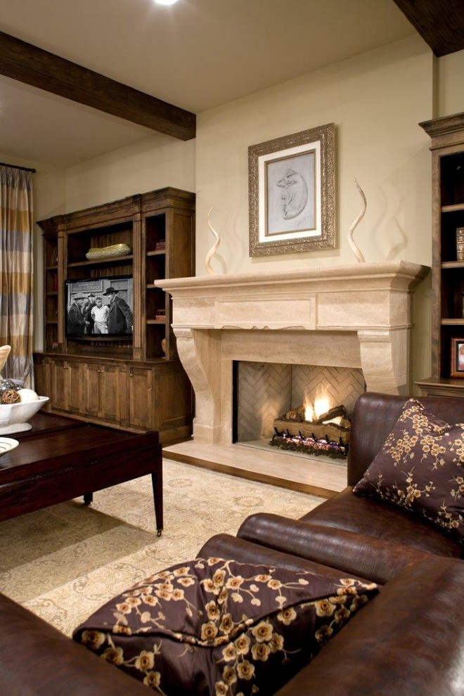 Zero Clearance Fireplace Family Room Traditional with Area Rug Ceiling Lighting Decorative Pillows Exposed