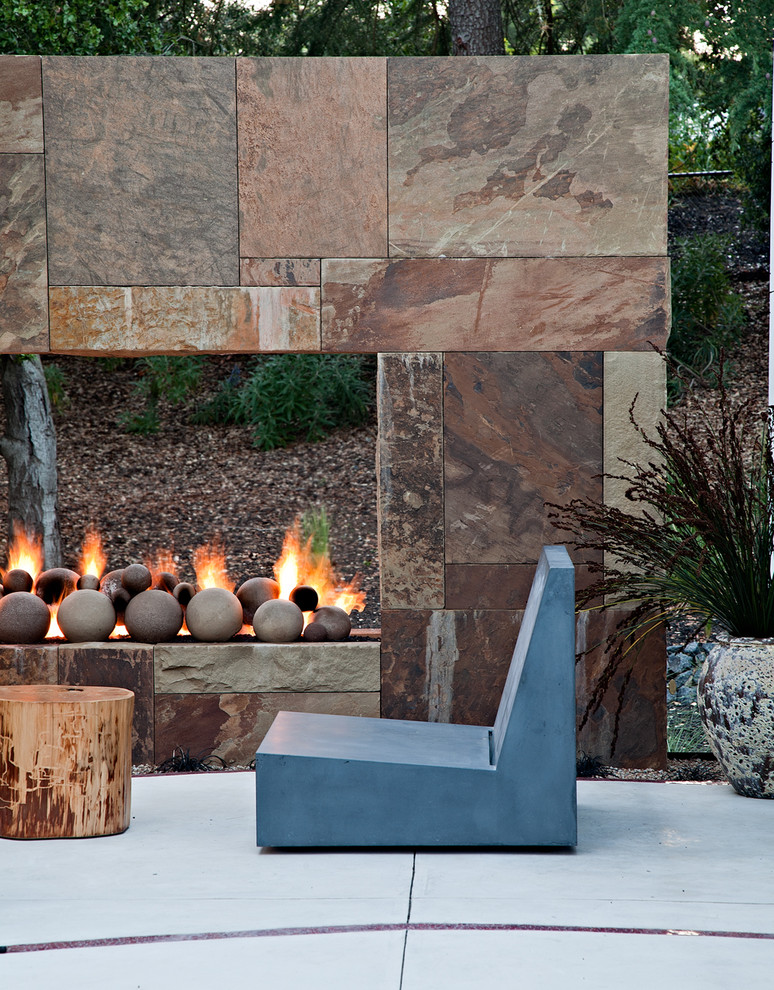 Zero Clearance Fireplace Patio Contemporary with Concrete Concrete Furniture Container Plants Open Fireplace