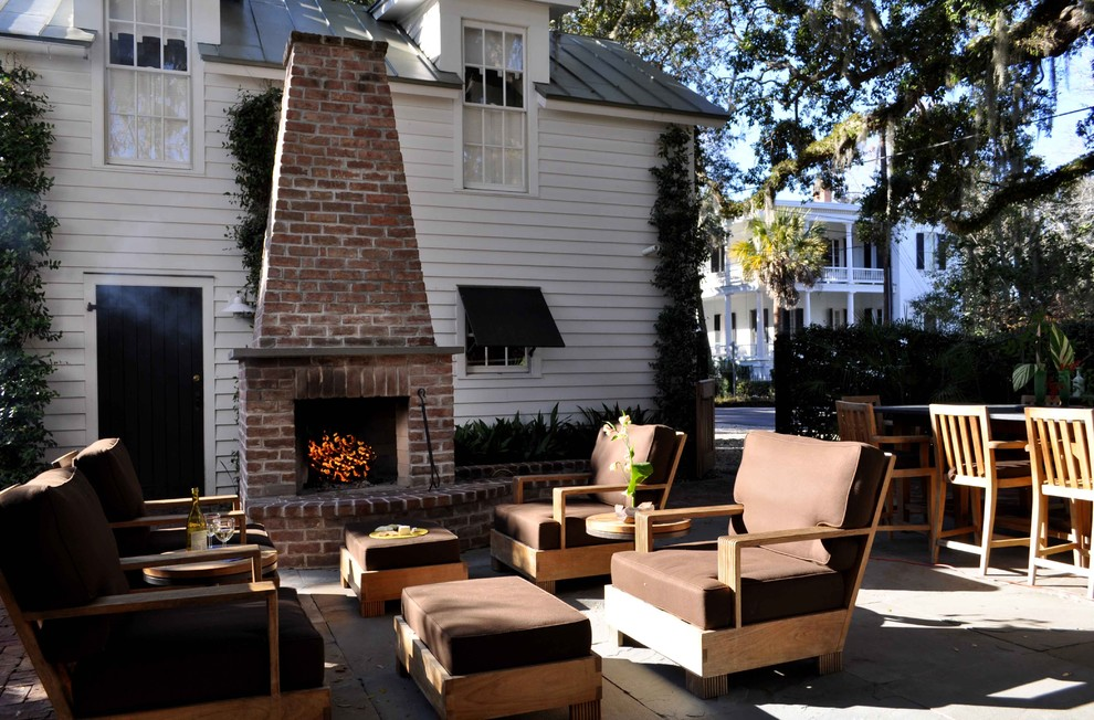 Zero Clearance Fireplace Patio Traditional with Bar Stool Brown Clapboard Concrete Dining Dormer