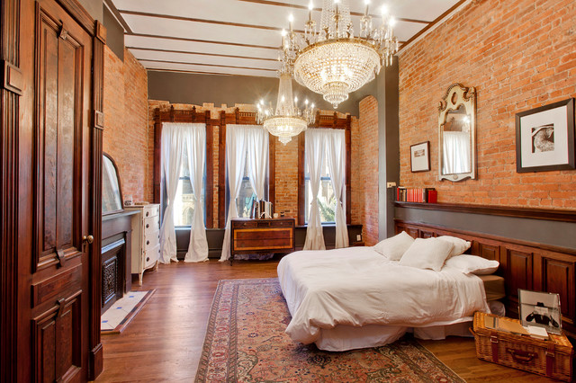 1500 Thread Count Sheets Bedroom Eclectic with Brick Wall Crystal Chandelier