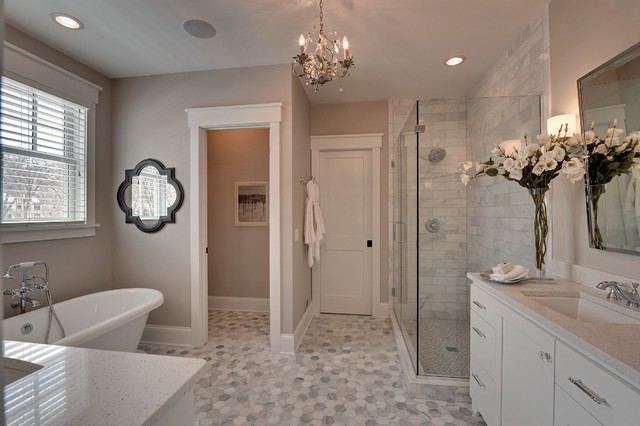 4x6 Frames Bathroom Traditional with Baseboard Gray Counter Gray