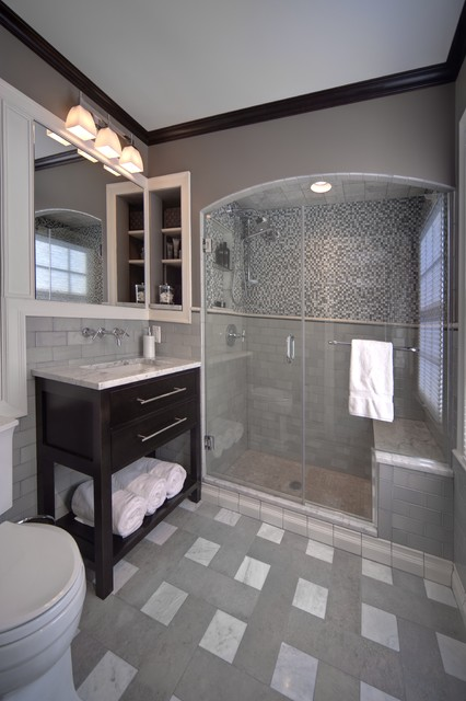 4x6 Frames Spaces Traditional with Bathroom Tile Built In