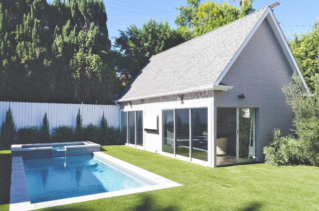 Adirondack Rocking Chair Pool Contemporary with Artificial Backyard Coping Exterior