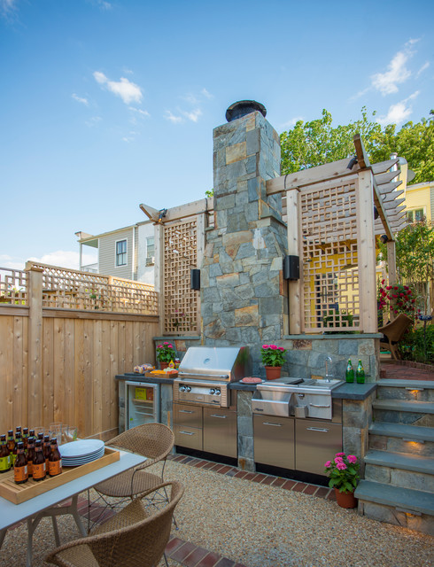 alfresco grills Patio Traditional with brick pavers built in