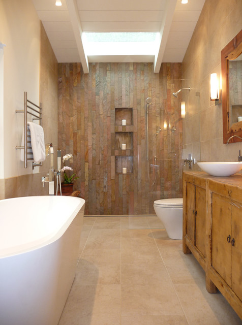 All Clad Roasting Pan Bathroom Rustic with Antique Bench Cladding Curbless