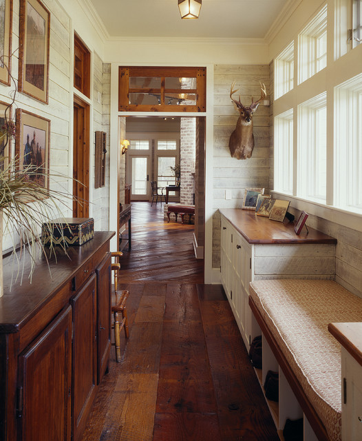 Allure Plank Flooring Hall Farmhouse with Built in Bench Cubbies Dark