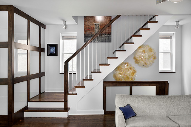 aluminum balusters Staircase Midcentury with dark floor spindle banister