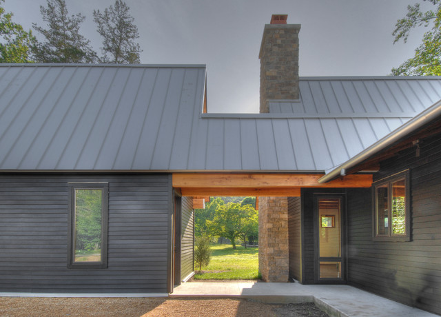 American Metal Roofs Exterior Transitional with Concrete Dog Trot Gravel