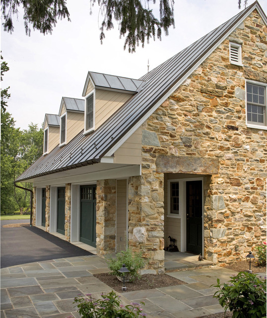 American Metal Roofs Garage and Shed Traditional with Beige Siding Copper Cottage