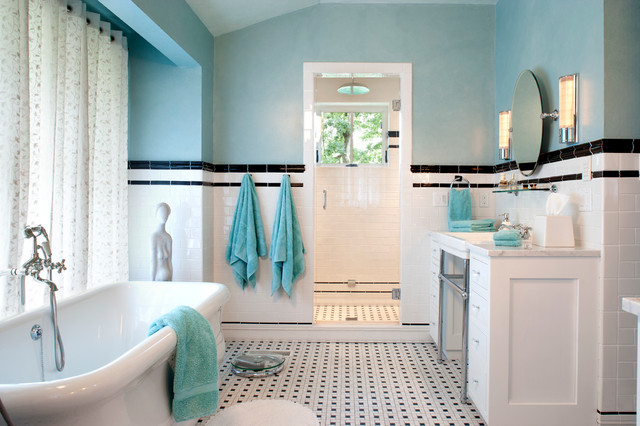 American Standard Cadet Bathroom Traditional with Aqua Black and White