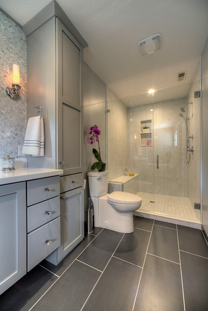 American Standard Cadet Bathroom Transitional with Carrara Look Porcelain Wall
