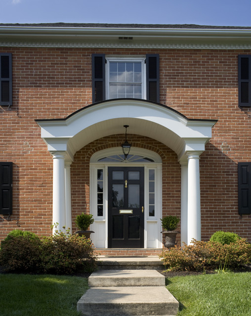Anderson Storm Door Entry Traditional with Brick House Brick Walls