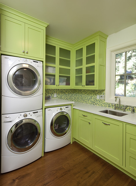 Apartment Size Stackable Washer and Dryer Laundry Room Contemporary with Frosted Glass Glass Front
