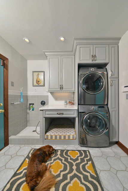 Apartment Size Stackable Washer and Dryer Laundry Room Traditional with Dog Bed Dog Grooming