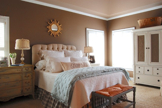 aqua comforter Bedroom Farmhouse with antiques bench brown calm