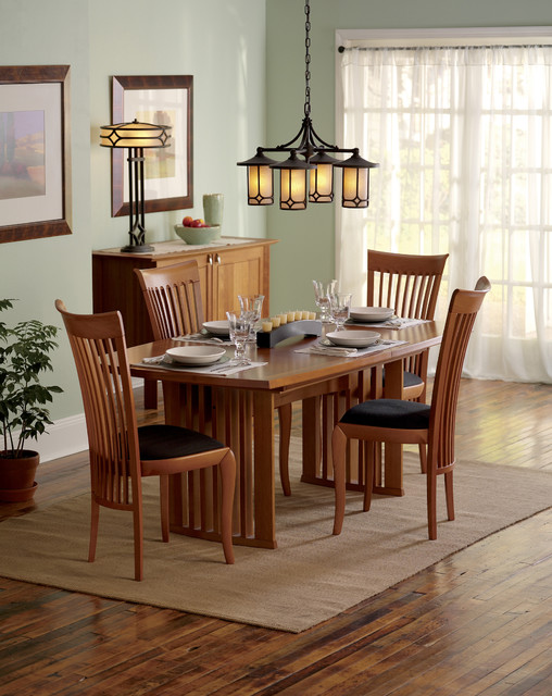 Arroyo Craftsman Dining Room Traditional with Area Rug Buffet Chandelier