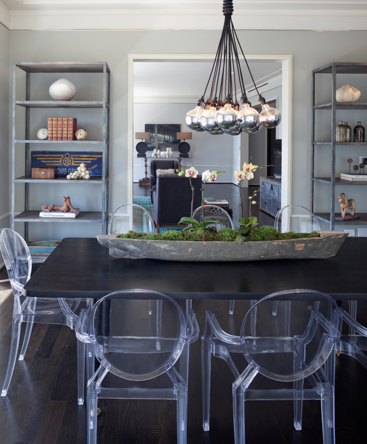 Artificial Orchids Dining Room Contemporary with Contemporary Lighting Ghost Chairs