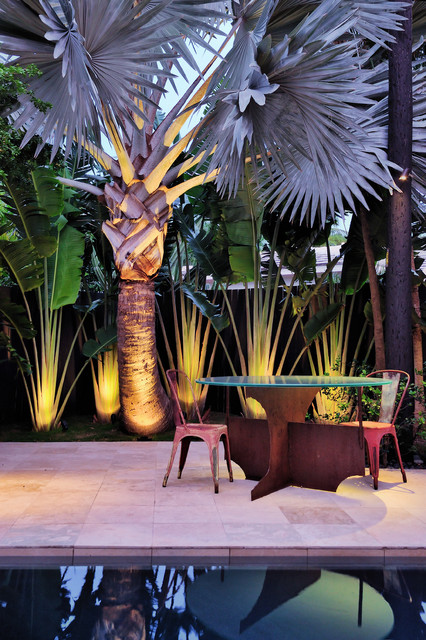 Artificial Palm Trees Patio Contemporary with Garden Lighting Minimalist Outdoor
