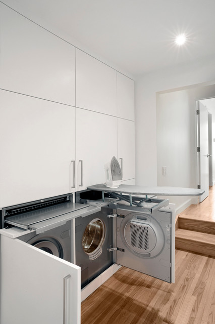 Asko Appliances Laundry Room Contemporary with Built in Cabinets Doorway