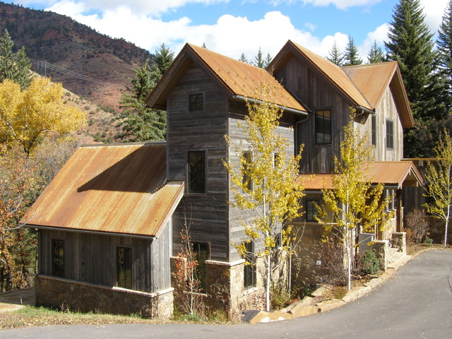 Aspen Roofing Exterior Rustic With Cabin Corrugated Roof Driveway
