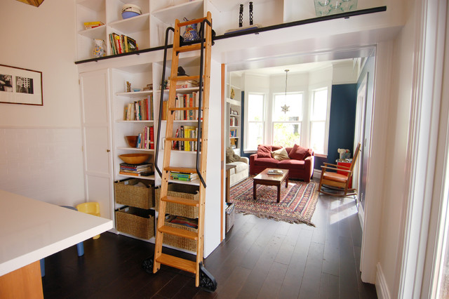 Attic Access Ladder Family Room Eclectic with Baskets Bay Window Bookshelf