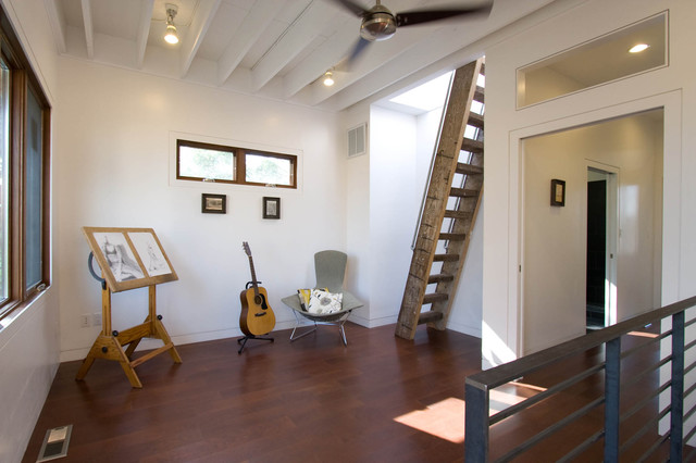 Attic Access Ladder Hall Modern with Ceiling Fan Ceiling Rafters