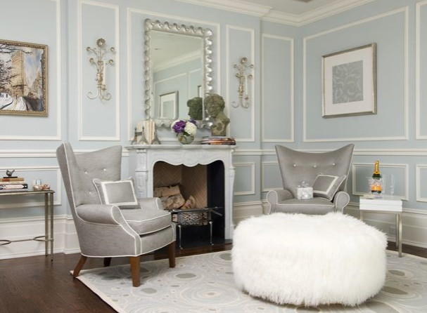 Audrey Hepburn Posters Living Room Transitional with Crown Molding Dark Wood