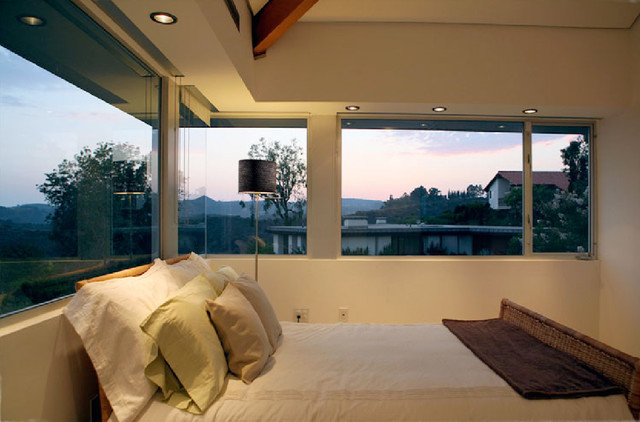 Automated Blinds Bedroom Contemporary with Ceiling Lighting Drum Lamp