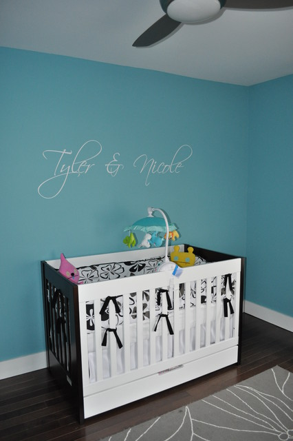 babyletto Nursery Modern with area rug baseboards blue
