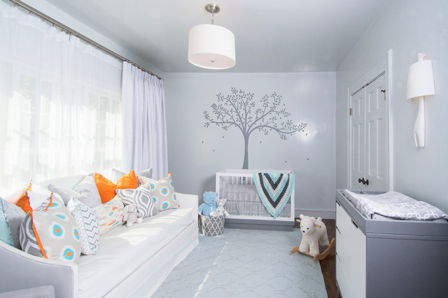 Babyletto Nursery Transitional with Blue Accents Changing Table
