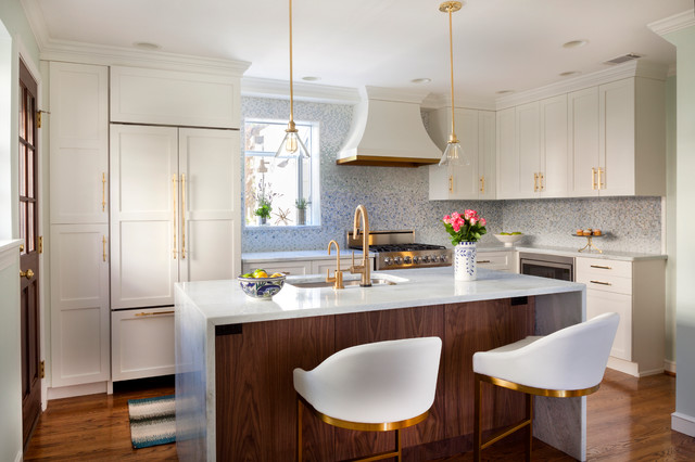 Baldwin Brass Kitchen Transitional with Built in Storage Custom Cabinets