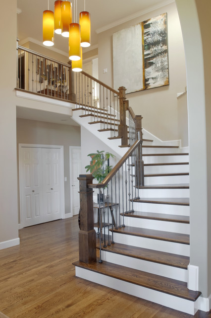 balusters Staircase Contemporary with banister baseboards ceiling lighting