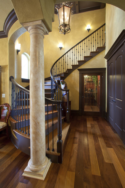 Balusters Staircase Mediterranean with Columns Curved Staircase Entrance
