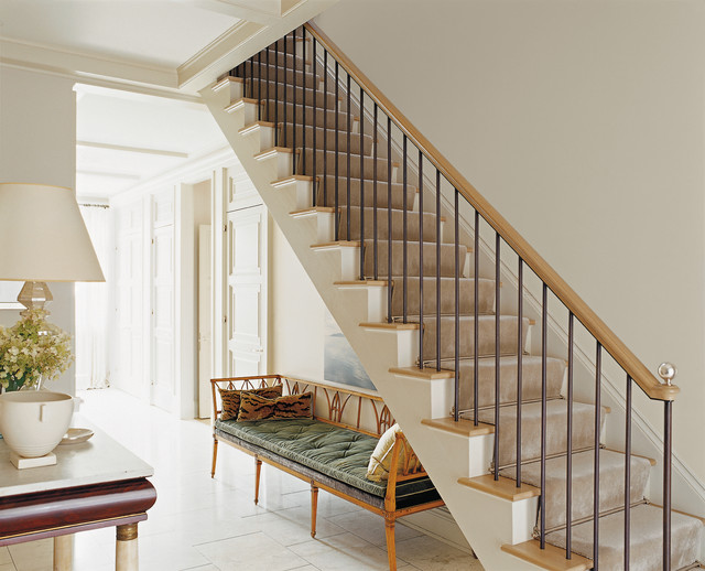 Balusters Staircase Traditional with Bamboo Bench Bench Gold