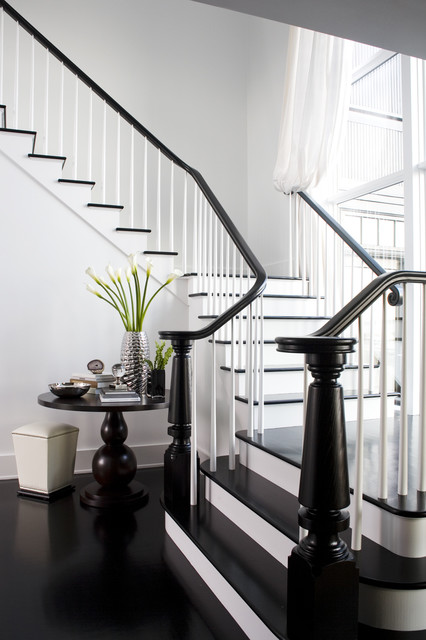Balusters Staircase Transitional with Black and White Black