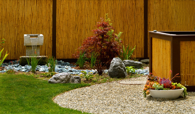 bamboo fence panels Landscape Asian with bamboo fencing boulders dry