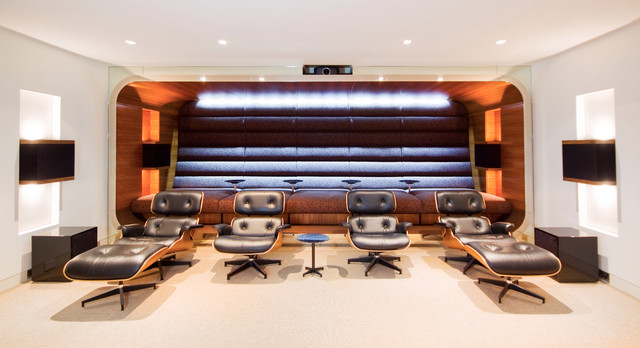 Barcalounger Home Theater Contemporary with Black Leather Chairs Built