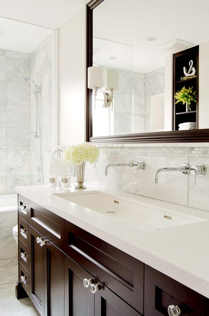 bathtub faucet replacement Bathroom Traditional with dark brown cabinets dark