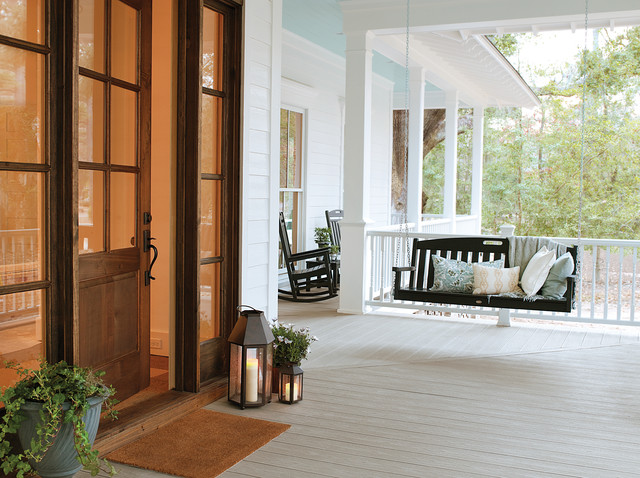 Battery Operated Taper Candles Porch Traditional with Covered Porch Front Porch