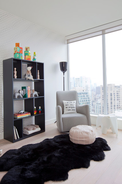 Bearskin Rug Nursery Contemporary with Apartment Living Baby Toys