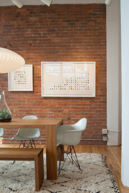 Beni Ourain Dining Room Midcentury with Art Print Beni Ourain