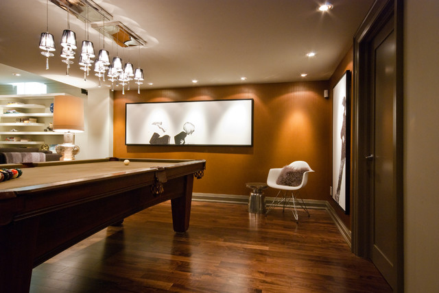 Billiards and Barstools Basement Contemporary with Basement Renovation Black And
