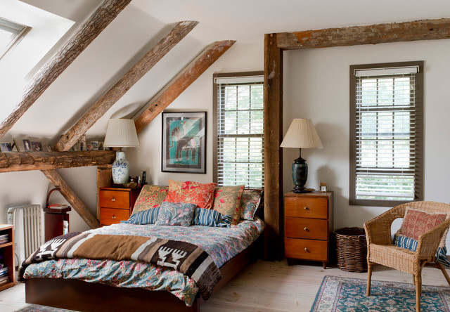 Boho Comforter Bedroom Eclectic with Eclectic Exposed Beams Rough