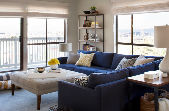 Bookshelf with Glass Doors Living Room Contemporary with Baskets Blue and Yellow