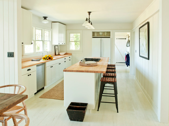 Boos Butcher Block Kitchen Modern with Cottage Cup Drawer Pulls