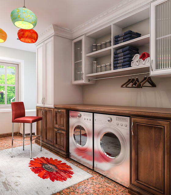 Bosch Axxis Washer Laundry Room Contemporary with Closet Factory Closetfactory Custom
