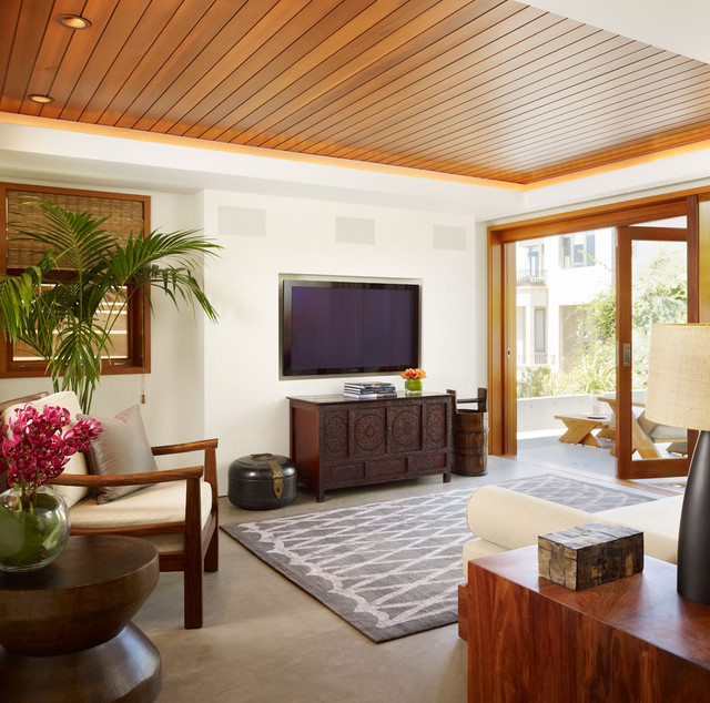 Bose Ceiling Speakers Family Room Tropical with Dark Wood Side Table
